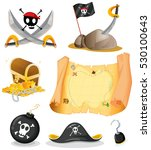 pirate set with map and weapons ... | Shutterstock .eps vector #530100643