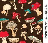colorful pop art mushrooms... | Shutterstock .eps vector #530103943