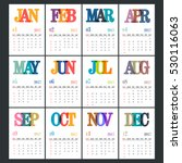 complete set of 12 months  2017 ... | Shutterstock .eps vector #530116063