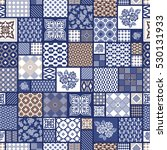 hand drawn seamless patchwork... | Shutterstock .eps vector #530131933