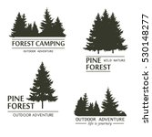 Fir Trees Silhouette Logo. Pin...