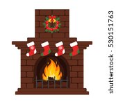 christmas fireplace in colorful ... | Shutterstock .eps vector #530151763