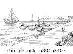 seafront pier graphic yacht... | Shutterstock .eps vector #530153407