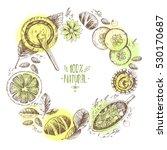 hand drawn vector round wreath... | Shutterstock .eps vector #530170687