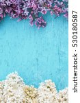 Blue Wooden Background With...