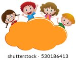 border template with four happy ... | Shutterstock .eps vector #530186413