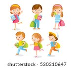 pupils with backpacks and books | Shutterstock .eps vector #530210647