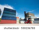 forklift truck lifting cargo... | Shutterstock . vector #530236783