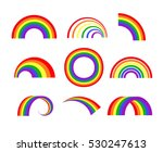 set of vector rainbows white...