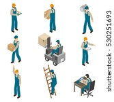 delivery man in uniform at work ... | Shutterstock . vector #530251693