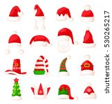 santa claus hat set isolated.... | Shutterstock .eps vector #530265217