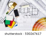 top view of construction plans... | Shutterstock . vector #530267617