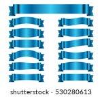 blue ribbons set. satin blank... | Shutterstock . vector #530280613
