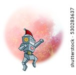 jumping happily christmas robot ... | Shutterstock . vector #530283637