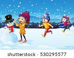 three kids playing in the snow... | Shutterstock .eps vector #530295577