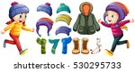children and winter clothes set ... | Shutterstock .eps vector #530295733