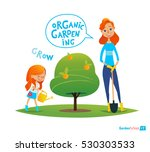 planting tree with kids. eco... | Shutterstock .eps vector #530303533