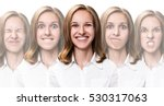 young girl changes her face... | Shutterstock . vector #530317063