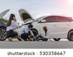 woman calls for help and for... | Shutterstock . vector #530358667