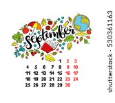 september. 2017. calendar.... | Shutterstock .eps vector #530361163