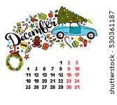 december. 2017. calendar.... | Shutterstock .eps vector #530361187