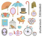 a collection of vintage... | Shutterstock .eps vector #530366863