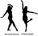 silhouette dance girls | Shutterstock .eps vector #53042683