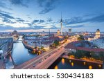 Stock photo classic aerial view of berlin skyline with famous tv tower and spree river in beautiful post sunset 530434183
