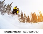snowboarder jumps in forest... | Shutterstock . vector #530435047