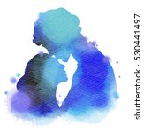 young couple in love silhouette ... | Shutterstock . vector #530441497
