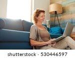 side portrait of woman sitting... | Shutterstock . vector #530446597