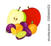 composition of juicy plums... | Shutterstock .eps vector #530464423