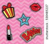 pop art fashion chic patches ... | Shutterstock .eps vector #530485237