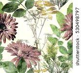 art vintage watercolor floral...   Shutterstock . vector #530498797