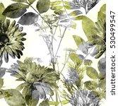 art vintage watercolor floral... | Shutterstock . vector #530499547