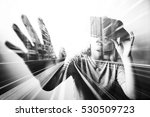 double exposure of woman using... | Shutterstock . vector #530509723