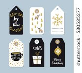 vintage christmas gift tags set.... | Shutterstock .eps vector #530535277
