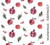 pomegranate seamless pattern  | Shutterstock . vector #530546317