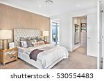 modern bedroom decoration with... | Shutterstock . vector #530554483