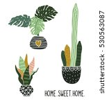 hand drawn tropical house... | Shutterstock .eps vector #530563087