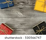 present box on wood background | Shutterstock . vector #530566747