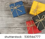 present box on wood background | Shutterstock . vector #530566777