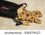 Wooden Runes With Black Bag....