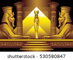 Two Egyptian Sphinx And Queen...