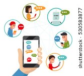 teen friends chat on phone.... | Shutterstock .eps vector #530583877