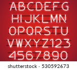 glowing red neon alphabet with... | Shutterstock .eps vector #530592673