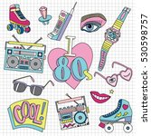 set of cute funny patch badges... | Shutterstock .eps vector #530598757