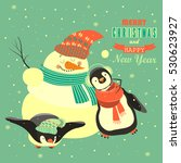 funny penguins with snowman... | Shutterstock .eps vector #530623927