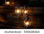 vintage kerosene lamps  on old... | Shutterstock . vector #530638363