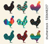 collection of roosters... | Shutterstock .eps vector #530648257